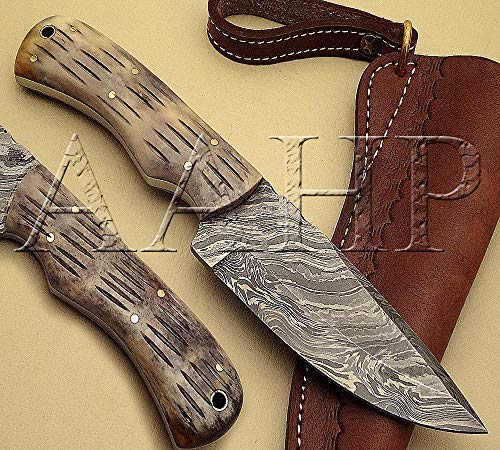 - AAHP - 62, 8.75 Inches Handmade Damascus Skinner Knife with Approx 4.375 inch Blade Made of 100% Real Damascus Steel, Approx 4.375 inch Black Color Bone with Brass Pins & Pipe
