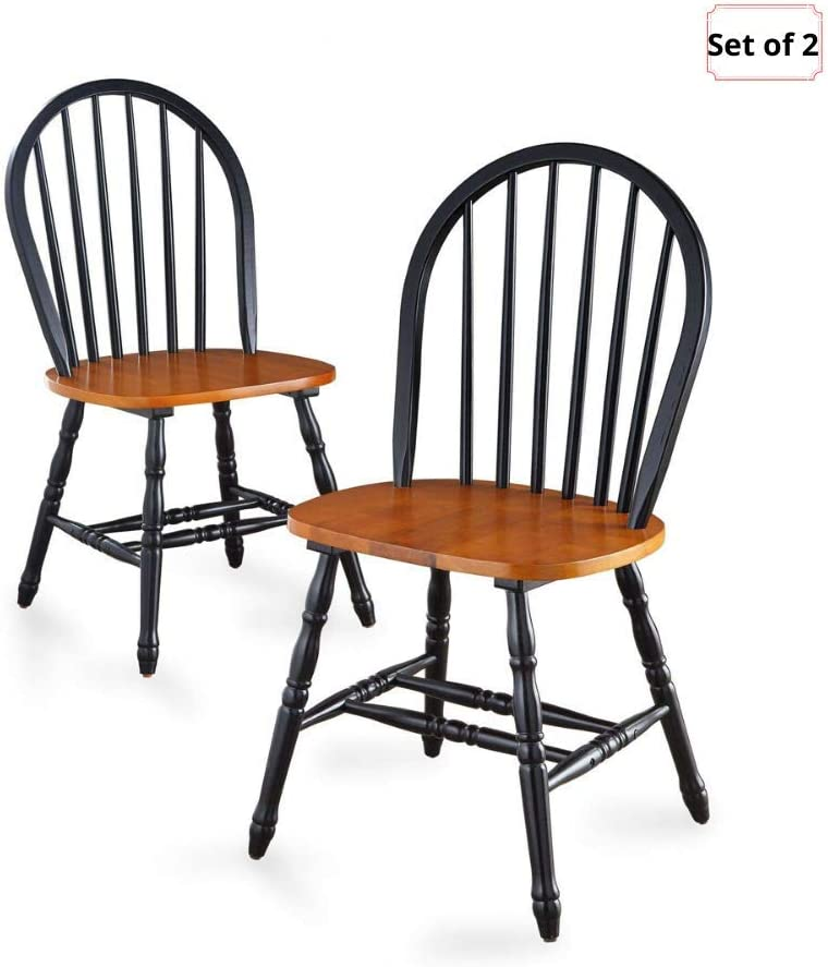 Better Homes Gardens 2-Sets of Extra Stylish, Traditional Look Autumn Lane Windsor Solid Wood Dining Chairs, Black Oak