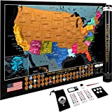 Scratch Off United States Map – US National Parks & 50 Cool Landmarks – Includes Full Accessories Set & eBook – Deluxe Scratch Off USA Map for Travelers – Fun Wall Art Poster Travel Map Gift