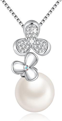 Collier Perle de Culture avec Cristal de Swarovski Trèfle Pendentif Perles  Bijoux, Cadeau Parfait Anniversaire pour Femme Maman, Blanc ou Gris, Chaîne  ...