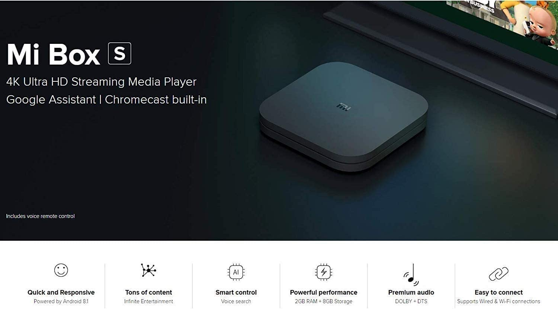 Mi Box S, CPU de Cuatro núcleos 2 GB de RAM + 8 GB de Almacenamiento Smart TV Box 4K Ultra HD + HDR Asistente de Google Chromecast Control Remoto Bluetooth Soporte