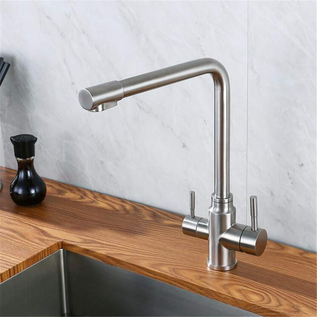 Faucet Washbasin Mixer Double Handles Hot & Cold Drinking Water Kitchen Faucet Stainless Steel Round Solid Sink Deck Mount Mixer Water 3 Ways Tap