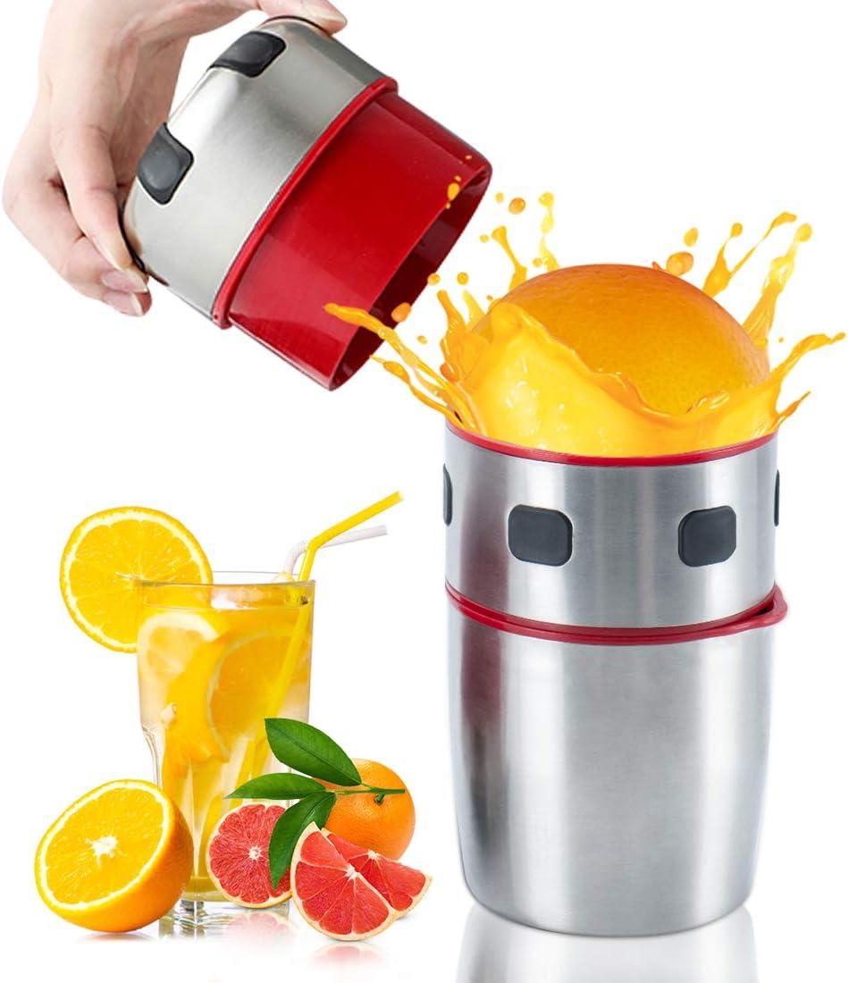 MIGECON Hand Juicer Manual Orange Juicer Cirtus Press Juicer Portable Stainless Steel Lid Rotation Squeezer with Filter, Manual Juice Press for Lemon Citrus Grapefruit Lime Orange Squeezer.