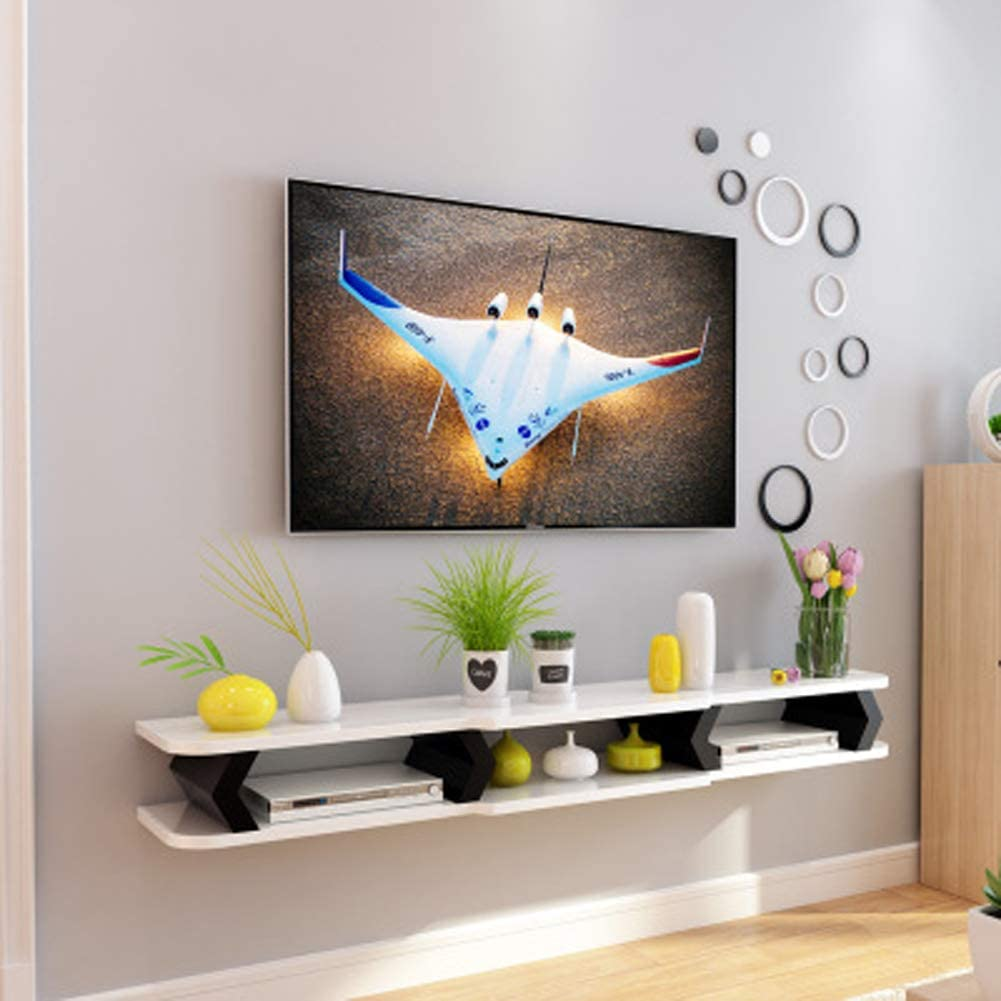 Wall-Mount Floating TV Cabinet Multimedia Console Floating TV Stand Shelf ConsoleTV Wall Shelf TV Background Wall Decoration Gift-C