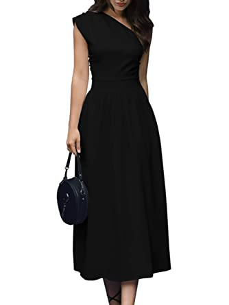 0ff48fccf05f03 GAMISOTE Womens One Shoulder Dress Elegant Summer Sexy Formal Evening A  Line Midi Dresses (Small