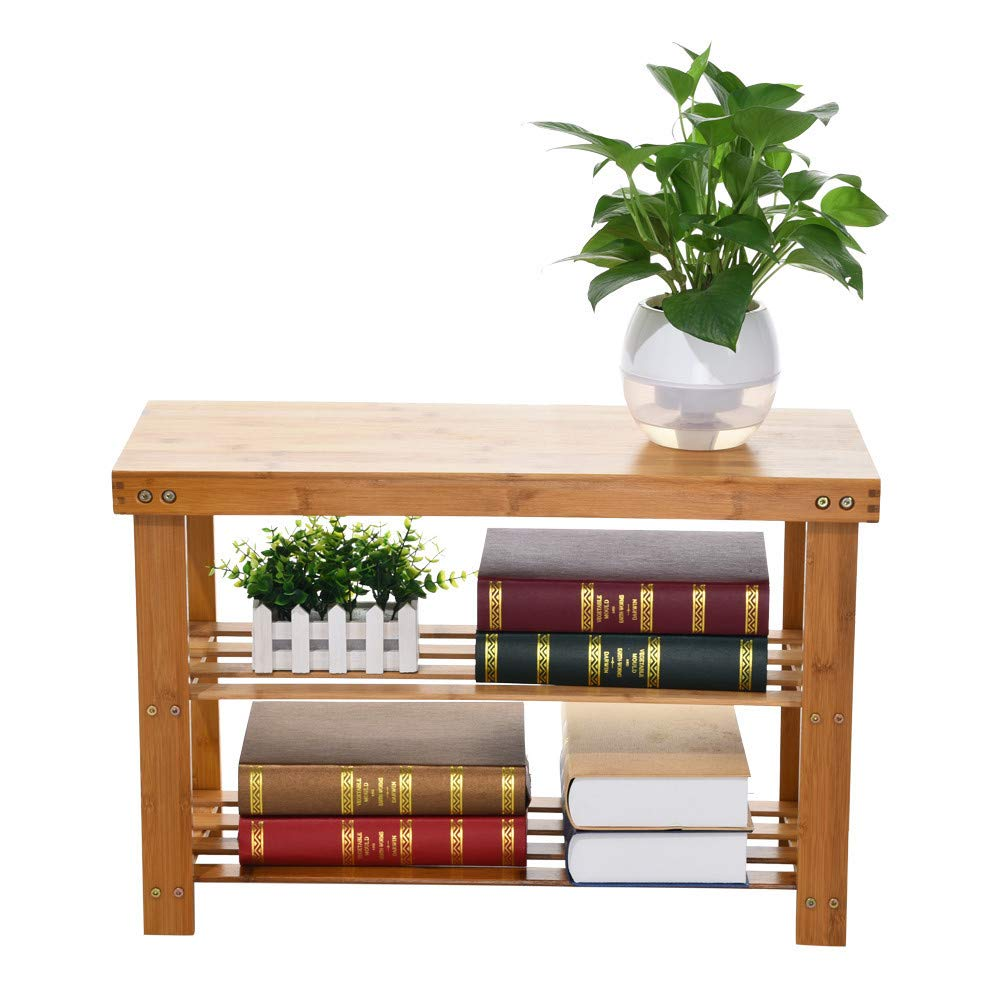 Sturdy Shoe Rack Bench,3-Tier Bamboo Shoe Organizer,Storage Shelf Ideal for Entryway Bathroom Living Corridor - 28inch×11inch×18inch by Toonshare