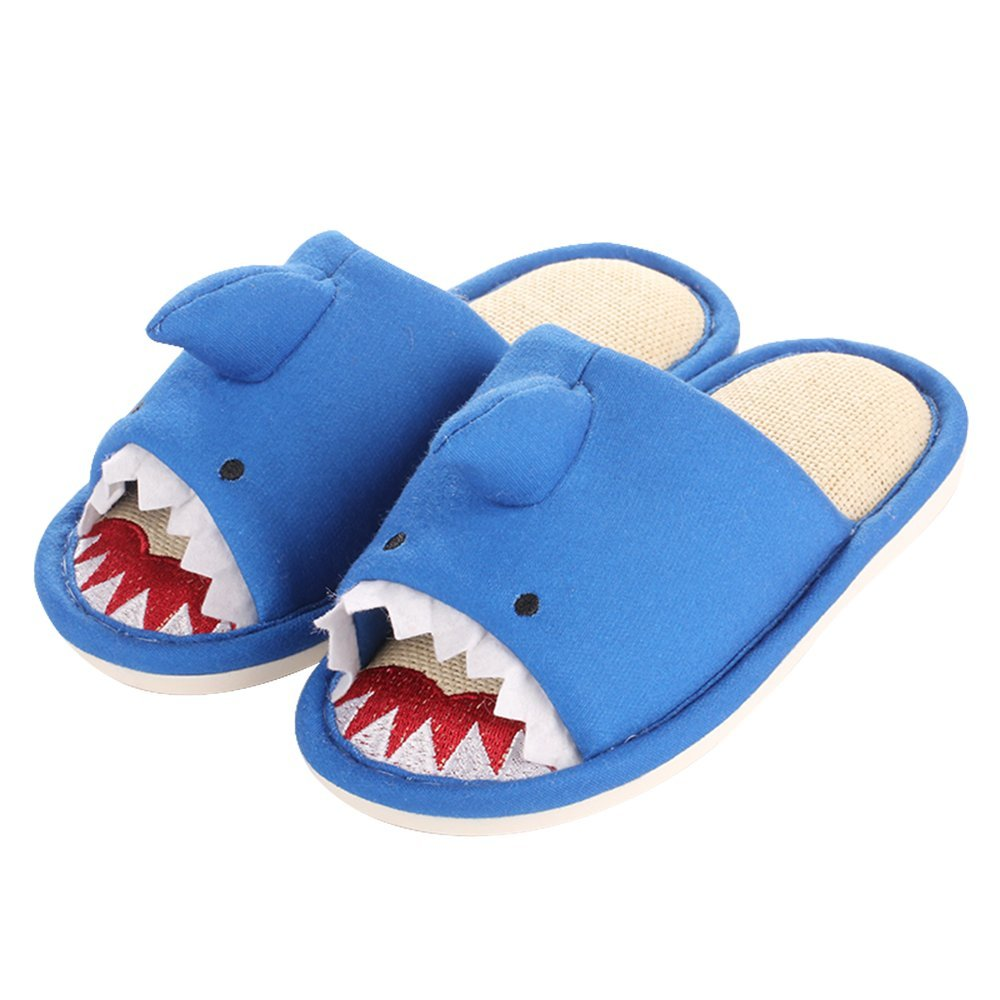 Colias Wing Cuddly Cartoon Animal Shark Stylish Design Summer Soft Cozy Linen Skidproof Slippers Open Toe Anti-slip House Indoor Outdoor Slippers for Girl/Toddler/Little Kid-Blue