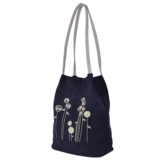 4b1190d85993 Klsyanyo Women Handmade Flower Canvas Large Tote Shopping Bag Shoulder Bag  Handbags (Black)