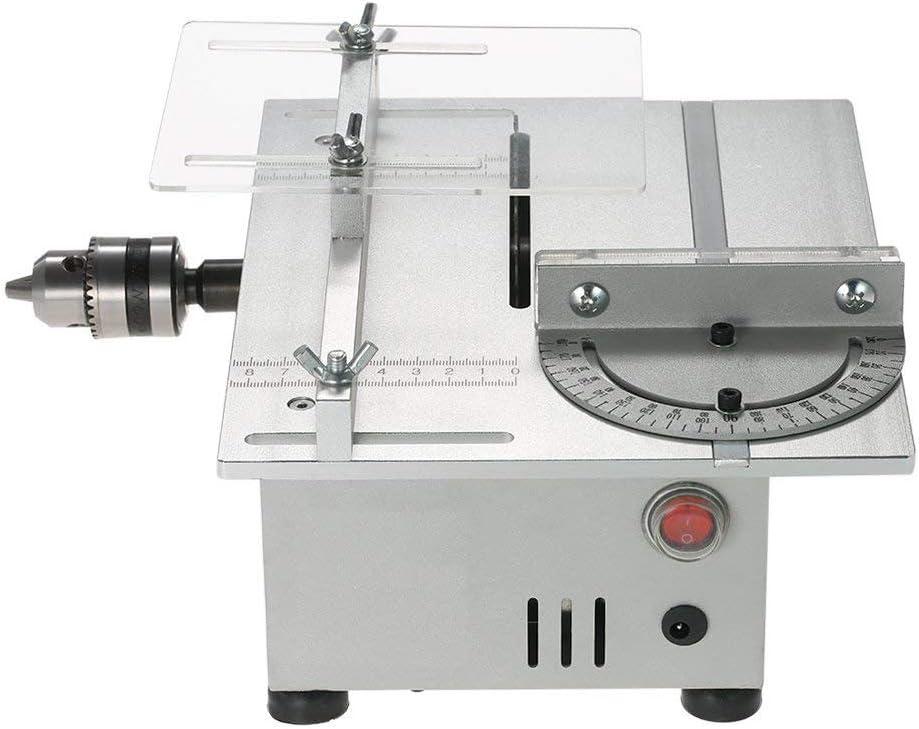 IDABAY Sierra de Mesa, Multifunción Carpintería para Trabajar la Modelo DIY Escritorio Sierra Eléctrica Modelo Máquina de Corte con Regla Deslizante Profundidad de Corte a 90°,29mm,7000RPM