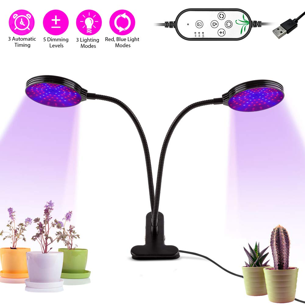 LED Grow Light, LIFU 30W 156 LEDs Plant Grow Lamp with 3 Automatic Timing(4H/8H/12H), 5 Dimmable Levels, 9 Lightmodes, IP66 Waterproof Full Spectrum Dual Head Plant Lights for Indoor Plants