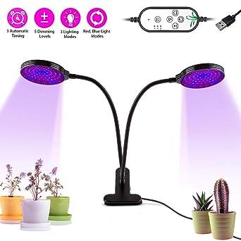 20W LED Pflanzenlampe 2 Kopf Pflanzenleuchte Voll Spektrum Pflanzenlicht Lamp