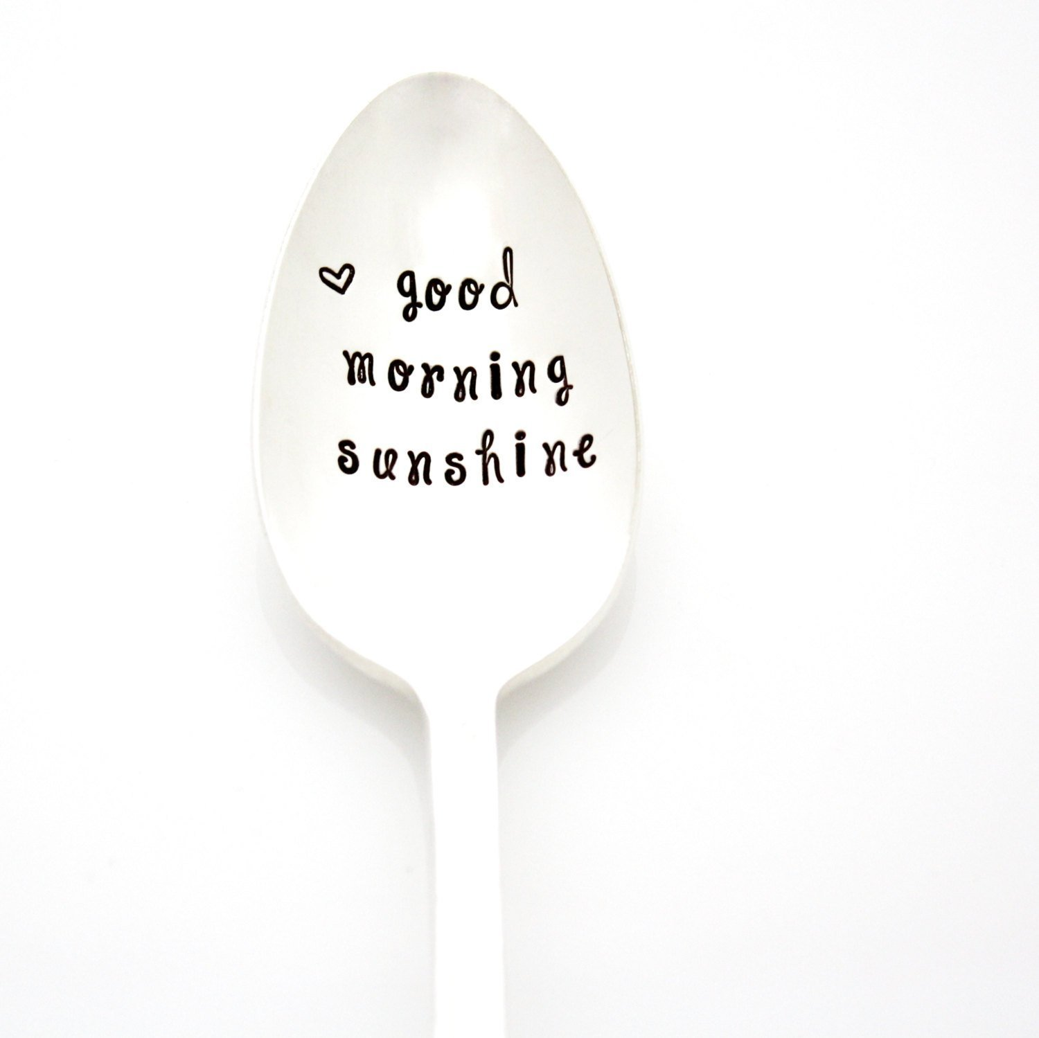Good Morning Sunshine. Hand Stamped Spoon for Stirring Coffee or Tea. Handstamped Vintage Spoons by Milk & Honey. Part of the Martha Stewart American Made Market.