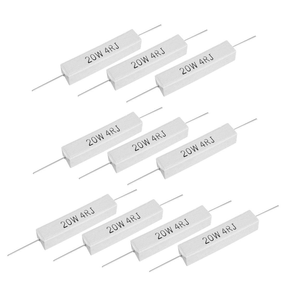 uxcell 20W 4 Ohm Power Resistor Ceramic Cement Resistor Axial Lead White 10pcs Alternators & Generators Starters & Alternators