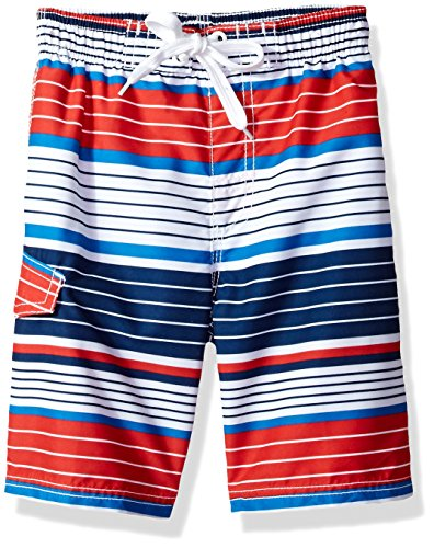 (Kanu Surf Toddler Boys' YOLO Quick Dry Beach Swim Trunk, Blake Navy/Red, 3T)