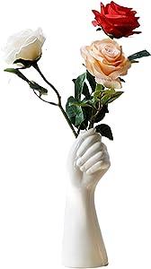 Lucakuins Human Body Arm Ceramic Vase, Dried Flowers Living Room Flower Arrangement Decoration White Vase, Home Décor Office Hydroponic Ornaments