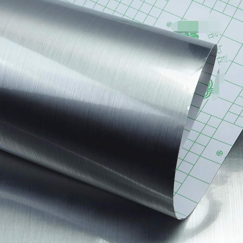 Teemall Self Adhesive Metal Look Paper Film Vinyl waterproof Anti greasy Counter Top Peel Stick Metallic Gloss Shelf Liner For Kitchen Cabinet 15.6inch by 79inch