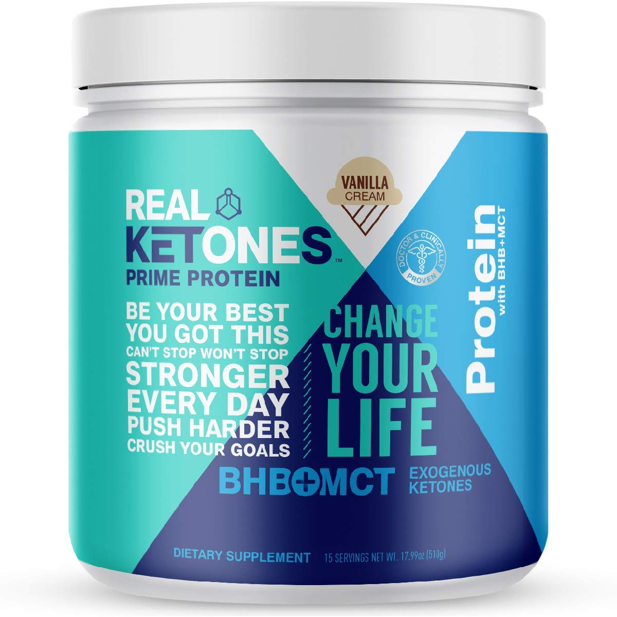 Real Ketones Whey Keto Protein Powder with Exogenous Ketones – Grass-fed Whey Isolate Protein, Paleo and Low-Carb Friendly, Vanilla Cr me