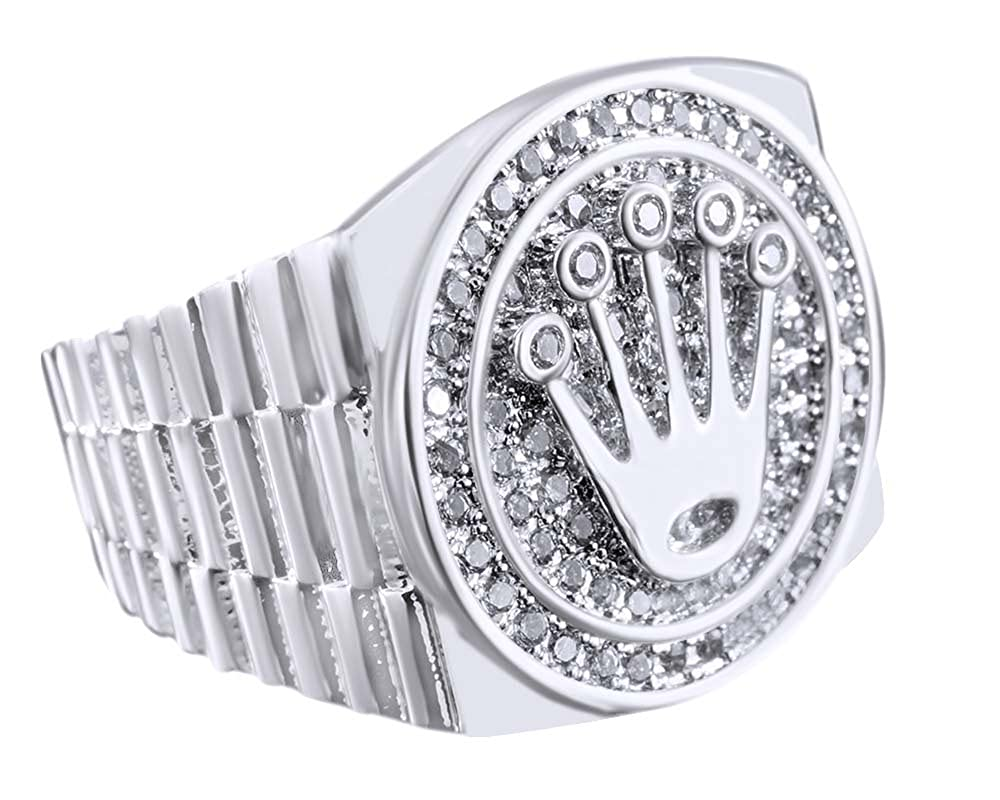 AFFY Round Shape White Cubic Zirconia Crown Band Mens in 925 Sterling Silver 1.00 Cttw