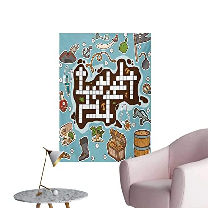 Amazon.com: Anzhutwelve Word Search Puzzle Wallpaper Kids Cartoon Game Grid Numbers Finding The Right Words Pirate IconsMulticolor W24 xL32 Poster Paper: ...