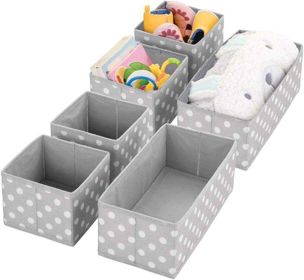 grau und wei/ß Organizer in 2 Gr/ö/ßen f/ürs Kinderzimmer mDesign 6er-Set Aufbewahrungsbox Aufbewahrungssystem aus Kunstfaser mit ansprechendem Design