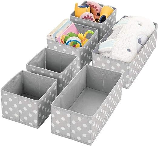mDesign Juego de 6 Cajas para Guardar Ropa – Organizador de Armario en 2 tamaños para el Dormitorio Infantil – Cajas organizadoras de Fibra sintética con diseño Atractivo – Gris y Blanco: Amazon.es: Hogar