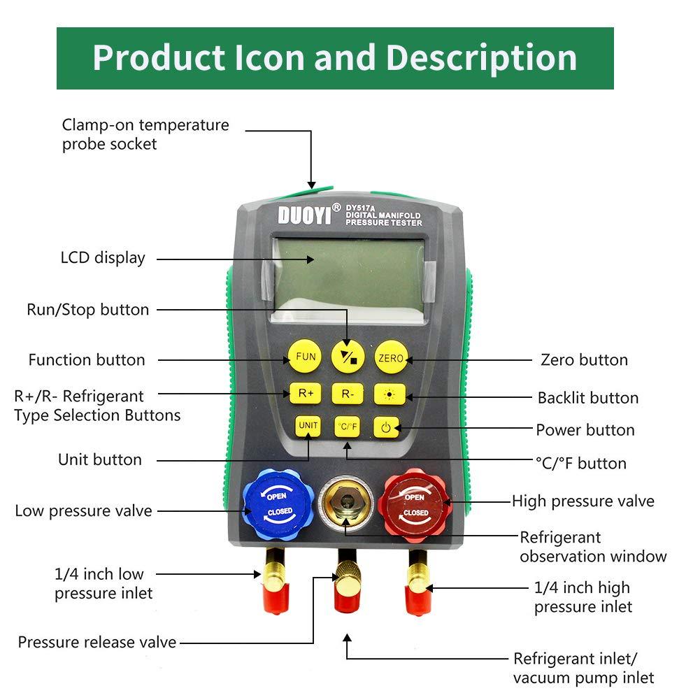 Gauge Kit High-Precision Vacuum Pressure Temperature Leakage Tester Dignostic Meter Kit for Testing Maintaining Air-Conditioner Refrigeration HVAC Digital Manifold System Gauge Set Refrigerator