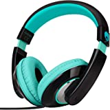 RockPapa Comfort+ Adjustable Over Ear Headphones Earphones with Microphone in-line Volume for Adults Kids Childs Teens, Smartphones Laptops DVD MP3/4 Surface iPhone iPod iPad MacBook Black Teal