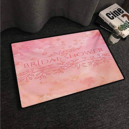 HCCJLCKS Front Door Mat Large Outdoor Indoor Bridal Shower Bride Invitation Grunge Abstract Backdrop Floral Design Print All Season General W35 xL59 Pale Pink and Salmon