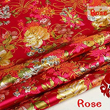 FidgetKute Ancient Costume Chinese Dress Baby Clothes Kimono Cos Silk Satin Sewing Fabric Black Background Gold Peony by The Half-Yard 29 inch