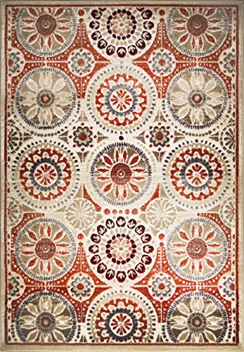 Circle Medallion - ADGO Hudson Collection Modern Medallion Circles Damask Soft Pile Contemporary Area Rug, Living Dining Room Ivory Red, 5' x 7'