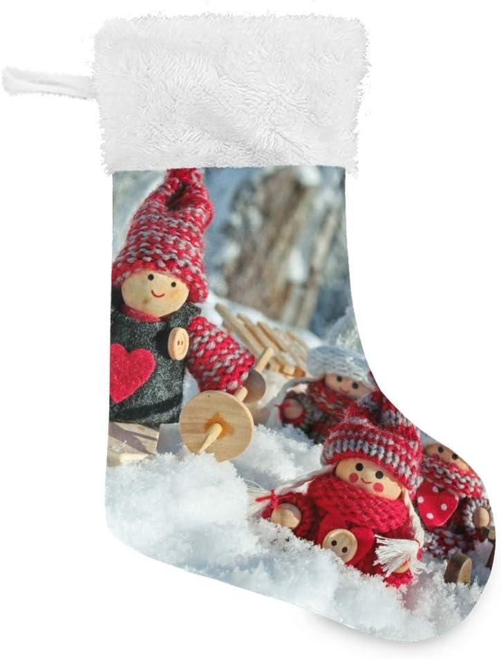 Puño de piel sintética de felpa Marioneta linda Calcetín de Navidad para vacaciones familiares Decoración de fiesta de Navidad Regalo personalizado 1 piezas
