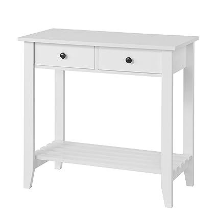 SoBuy® Mesa auxiliar con 2 cajones y tablero o estante, Consola mesa ...