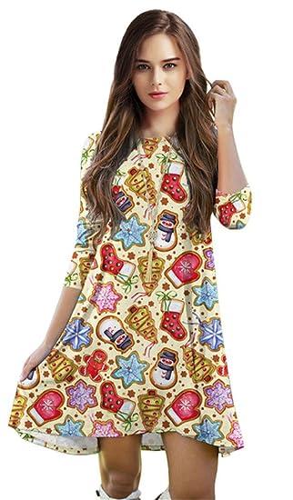 04a06515111b Jescakoo Cute Print Crewneck Shift Tunic Dress and Skirt for Ugly Christmas  Party