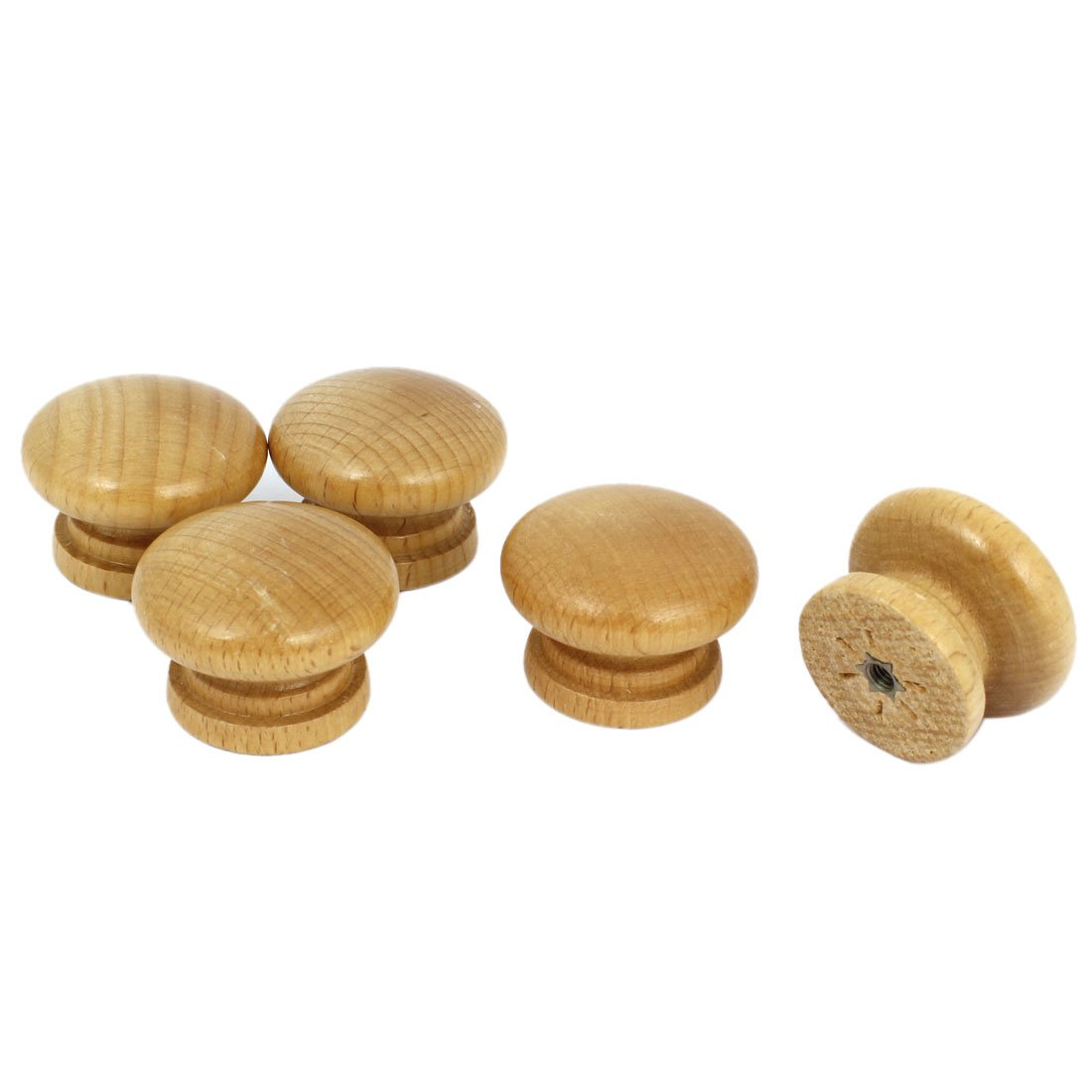 Cabinet Drawer Cupboard Round Shape Wooden Pull Knob Grip 5 Pcs uxcell a14111800ux0495