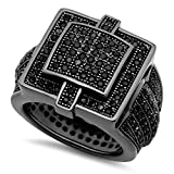 Best The Bling Factory Bling Jewelry Cz Rings - The Bling Factory Men's Black Plated Micro-Pave Iced Review