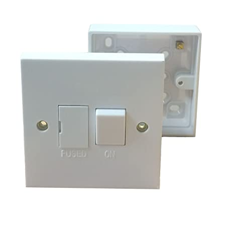 switched fuse spur back box pattress 1 gang single 13 amp rh amazon co uk Home Electrical Box Outdoor Electrical Box Covers