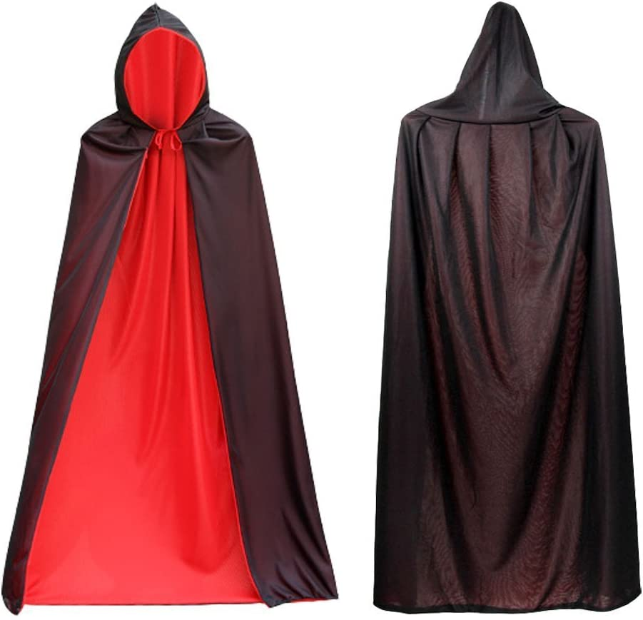 Capa de Vampiro Cabo con Capucha Negro Rojo Reversible Disfraz de ...