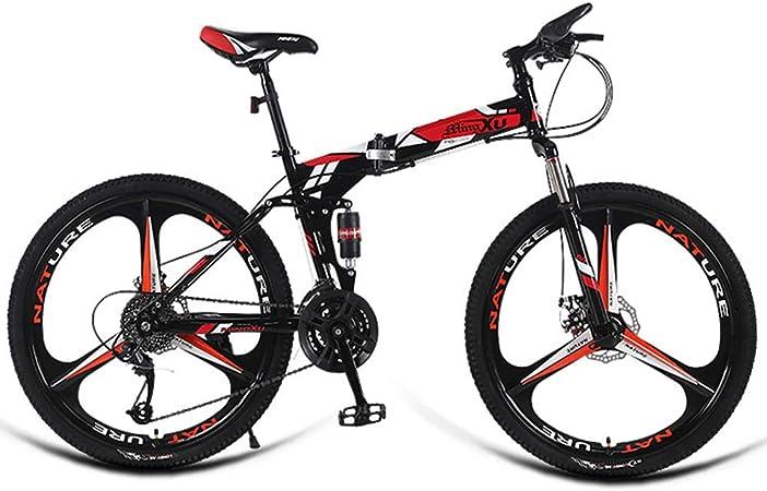 AQAWAS Adulto Bicicleta Plegable, de 24 Pulgadas Plegable Compacto de Bicicletas, Bicicletas de 24 velocidades Outroad la montaña, Ideal para Montar a Caballo Urbana y los desplazamientos,Red: Amazon.es: Hogar
