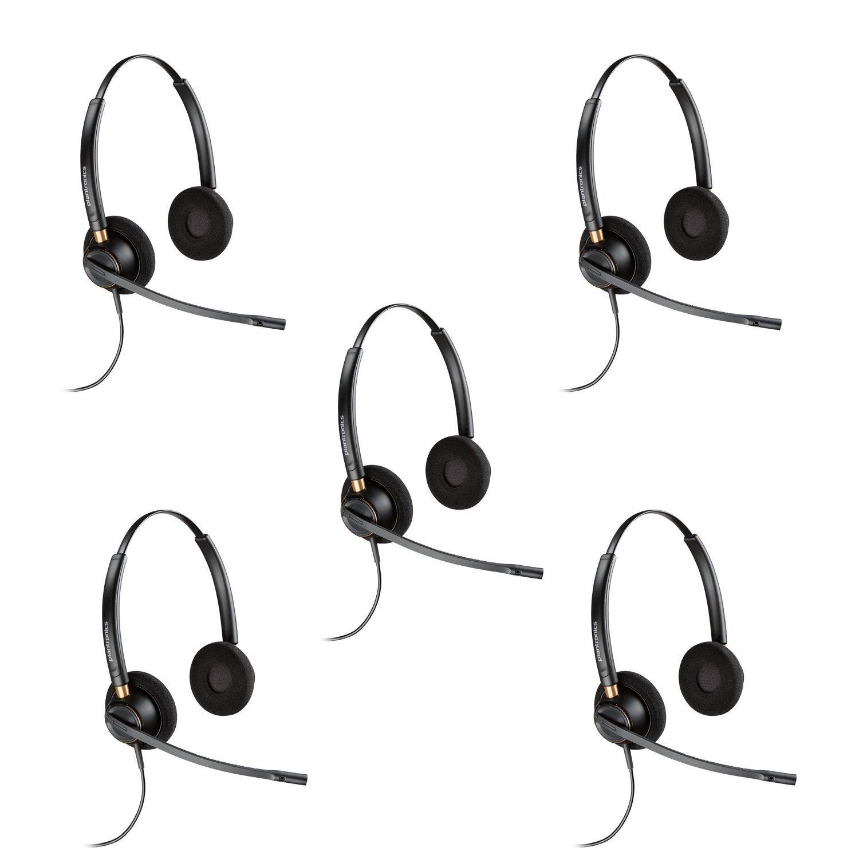 Plantronics HW520 Binaural Wired Office Headset- 5 Pack (Certified Refurbished)