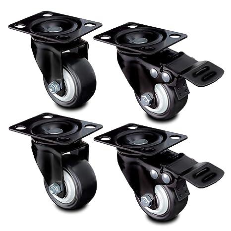 nirox 4X Ruedas para Muebles 50mm - Ruedas giratorias para Cargas Pesadas 2X con Freno - Ruedas industriales Altura Total 70mm - Ruedas pivotantes ...