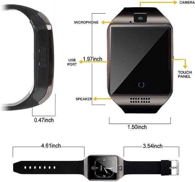 Reloj inteligente con Bluetooth, cámara, pantalla táctil, apto ...
