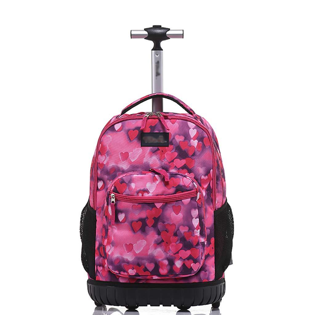 学校のラップトップバッグを旅する少年のためのトロリーバックパック大容量ストレージウィールドローリングバックパック防水旅の荷物   B07QNQXL1W