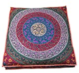 48 Inch Square Ottoman CRAFT PLACE Indian Mandala Floor Pillow Square Ottoman Pouf Daybed Oversized Cushion Cover Cotton Seating Ottoman Poufs Dog or Cat/Pets Bed 35