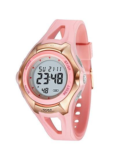 Fila Agile - Reloj digital de mujer de cuarzo con correa de goma rosa (alarma) - sumergible a 50 metros: Amazon.es: Relojes
