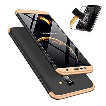 JINCHANGWU Compatible con Funda Samsung Galaxy J6 Plus 2018, Carcasa Samsung Galaxy J6 Plus 2018 con [ Cristal Templado] Carcasa 3 en 1 Caso, Oro y ...
