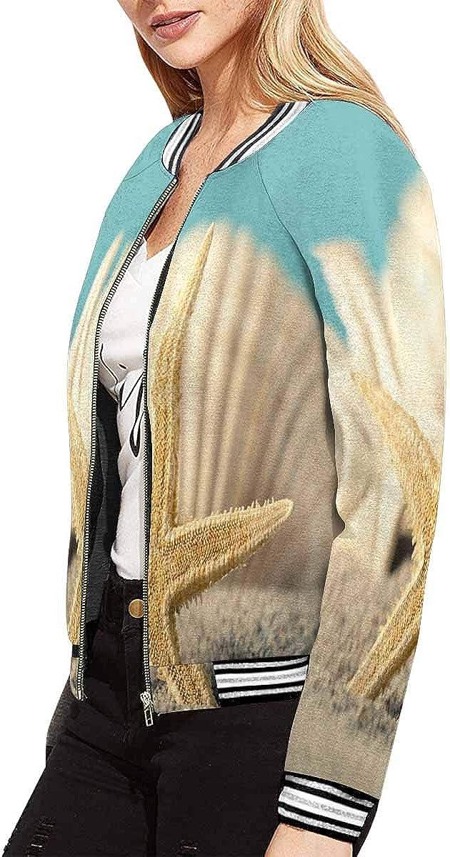 INTERESTPRINT Starfish S and Sea Shore Beach Ocean Summer Holiday Jacket Long Sleeve Zipper