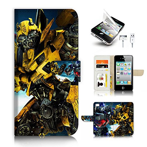 iPhone 4 4S Flip Wallet Case Cover & Screen Protector & C...