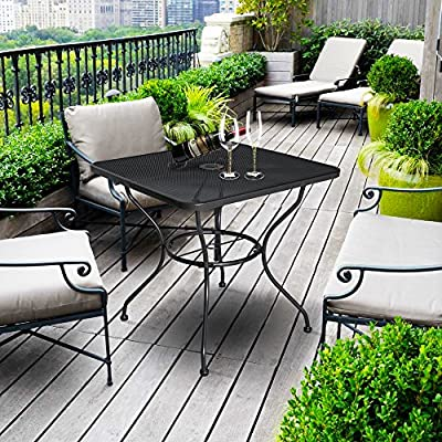 "Cloud Mountain 32"" x 32"" Patio Tempered Glass Dining Table Top Umbrella Stand Square Table Deck Outdoor Furniture Garden Table, Dark Chocolate"