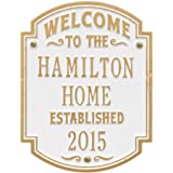 Personalized Welcome to Our House Custom Indoor/Outdoor Aluminum Wall Plaque - White/Gold