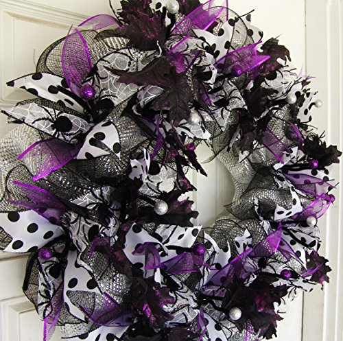 [Clearance Sale GORGEOUS Purple Silver Black and White Halloween Front Door Wreath, Patio Porch Wall Decor, Unique Gift Idea, Housewarming Birthday, Outdoor] (Halloween Porch Ideas)